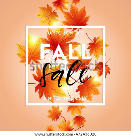 autumn sale flyer template lettering bright stock vector royalty