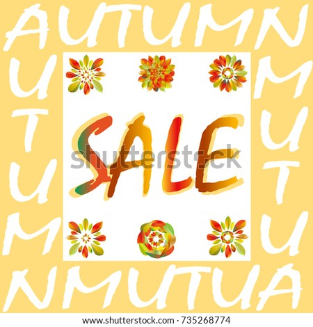 Autumn Sale Flyer Template With Lettering Bright Fall Leaves Geometrical Background Poster