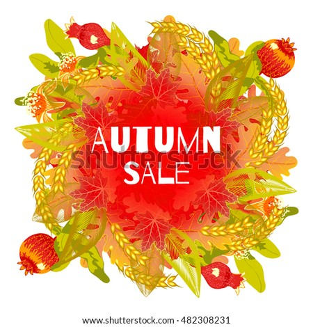 autumn sale flyer template lettering bright round stock vector