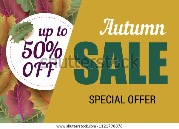 Autumn sale inscription with leaves. Autumn offer or sale advertising design. Handwritten and typed text, calligraphy. For leaflets, brochures, invitations, posters or banners.