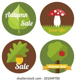 Autumn sale labels with leaves, tree and toadstool in flat design.