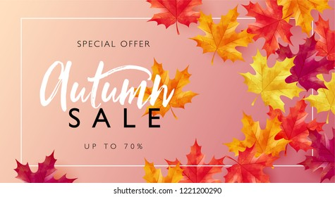 Autumn sale layout decorates with maple leaves for sale promotion poster, flyer, leaflet, web banner and graphic use. Vector illustration template.