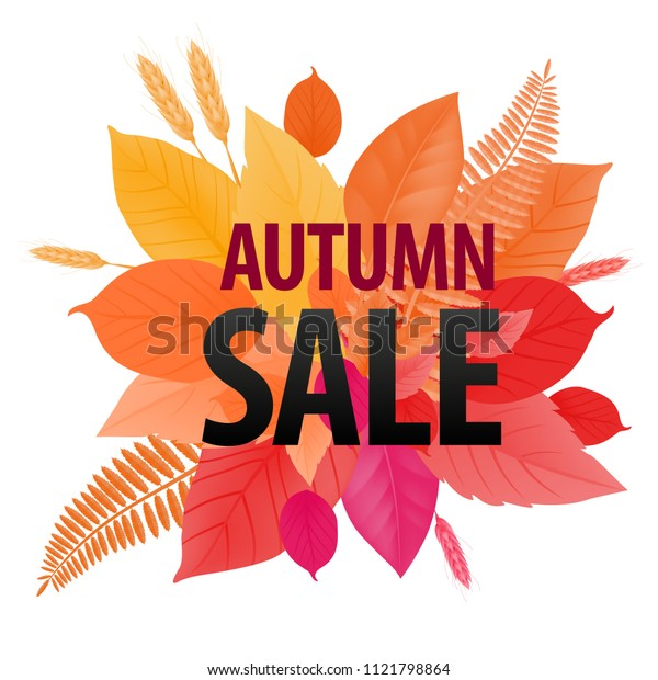 Autumn sale lettering on bright leaf background. Creative inscription with gradient changing. Illustration with lettering can be used for banner, posters and leaflets