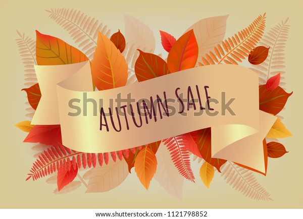 Autumn sale lettering with orange and yellow leaves. Autumn offer or sale advertising design. Typed text, calligraphy. For leaflets, brochures, invitations, posters or banners.