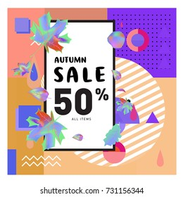 Autumn sale memphis style web banner. Fashion and travel discount poster. Vector holiday Abstract colorful illustration with special offer and promotion.