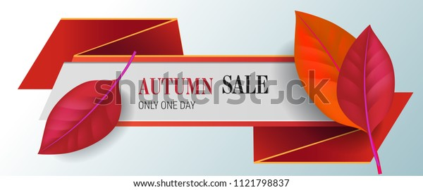 Autumn sale, only one day lettering with red leaves. Autumn offer or sale advertising design. Typed text, calligraphy. For leaflets, brochures, invitations, posters or banners.