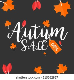 Autumn sale and other typography flyer template with lettering. For  Poster, card, label, and banner. Vector illustration EPS10