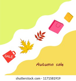 autumn sale paper package fallen leaves vector background