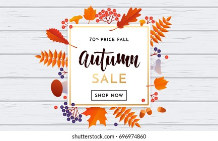 Autumn sale poster or autumnal shopping promo 70% banner for September fall of maple leaf, oak acorn foliage and discount text. Vector design for shop leaflet or web banner on white wood background.