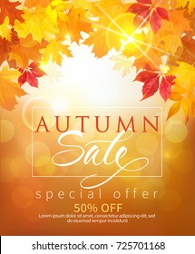 Autumn sale poster design with colored leaves and lettering. Vector illustration.