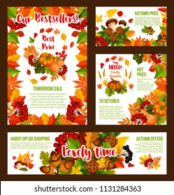 Autumn Sale promo web banners and shopping discount bestsellers posters for 30 percent price off offer. Vector pumpkin or mushroom harvest, autumn maple leaf or oak acorn and rowan berry or pine cone