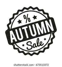 Autumn Sale rubber stamp black on a white background.