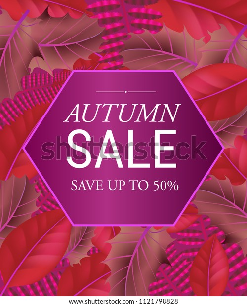 Autumn sale Save up to fifty percent lettering in hexagon. Creative lettering in frame on purple leaf background. Illustration with lettering can be used for banner, posters and leaflets