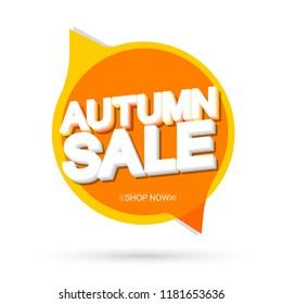 Autumn Sale, speech bubble banner design template, discount tag, app icon, vector illustration