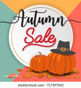 Autumn sale square banner background design for sale promotion, web banner or poster. Vector illustration