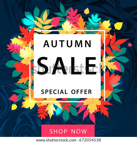 autumn sale square flyer template lettering stock vector royalty