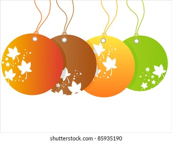 autumn sale tags isolated on white