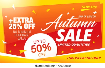 autumn sale template banner, vector illustration