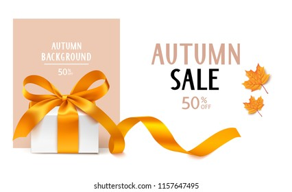 Autumn Sale template design. Vector background with gift box, golden bow with long ribbon and yellow maple leaves