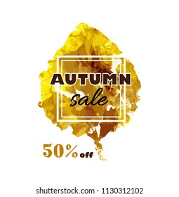 Autumn sale text. banner with seasonal fall leaf