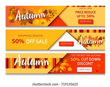 Autumn sale text banners for September shopping promo or 50 autumnal shop discount. Design decoration with maple, oak leaves, rowan berries in bright style