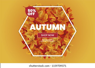 Autumn sale text typography poster for shopping banner vector illustration