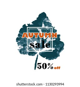 Autumn sale text vector banner with seasonal fall leaf