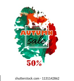 Autumn sale. Text vector banner with seasonal fall leaf