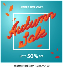 Autumn sale typographic sign with gray blue sky gradient background and red leaves. Vector template design for discount promotional banner, poster, flyer, card, postcard, cover, brochure.