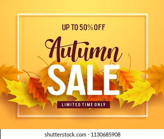 Autumn sale vector banner design with sale and discount text, autumn typography and fall season leaves elements in yellow background. Vector illustration.