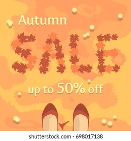 Autumn sale vector banner, poster, flyer. Fresh creative design of sale template. Flat vector illustration with leaves on grass and old broken shoes.