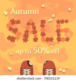 Autumn sale vector banner, poster, flyer. Fresh creative design of sale template. Flat vector illustration with leaves on grass and old ragged shoes.