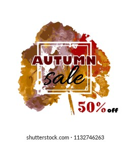 Autumn sale. vector banner with seasonal fall leaf