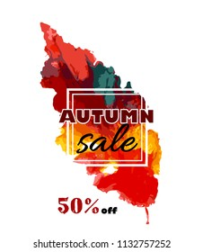 Autumn sale. vector banner with seasonal fall leaf. watercolor. hand drawn