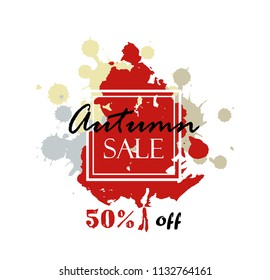 Autumn sale. vector banner with seasonal fall leaf. hand drawn