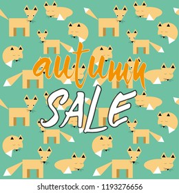 Autumn sale. Vector illustration of foxes seamless pattern on green background