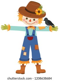 Autumn scarecrow with crow