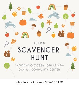 Autumn Scavenger Hunt or Woodland Walk Poster Vector Illustration