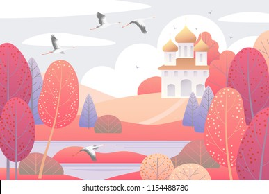 Autumn scene with church, clouds, red trees and flying storks.  Nature background with colorful landscape. Vector flat naive illustration.