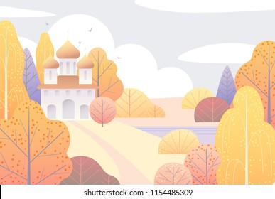 Autumn scene with church, clouds, yellow trees and flying birds.  Nature background with colorful landscape. Vector flat naive illustration.