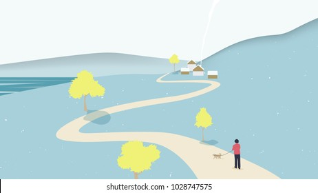 Autumn scenery landscape, man and dog walking on the road surrounded by mountains and trees