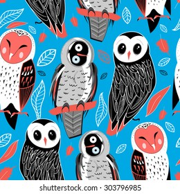 Autumn seamless graphic pattern of owls on a blue background