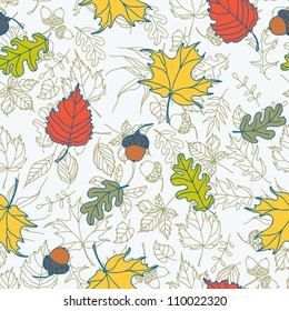 Autumn seamless pattern / background  with leaves
