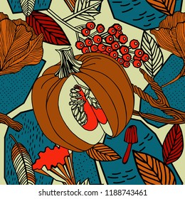 Autumn seamless pattern, birds and plants. Fashion design.