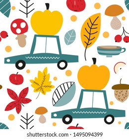 Autumn seamless pattern with cars, pumpkins and forest elements in Scandinavian style. Vector Illustration. Great for nursery, baby clothes, greeting card for Thanksgiving day, wrapper.