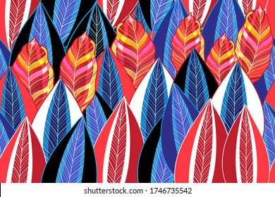 Autumn seamless pattern with color leaves on a dark background. Template for Wallpaper or fabric