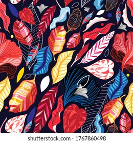Autumn seamless pattern with color leaves on a dark background. Template for Wallpaper or fabric design