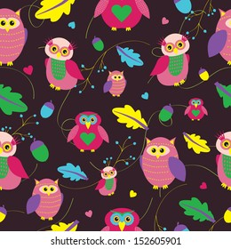 Autumn seamless pattern with cute owl