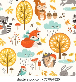 Autumn seamless pattern with cute woodland animals, trees, rainy clouds, mushrooms and leaves.