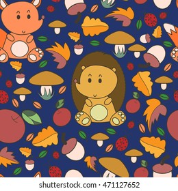 Autumn seamless pattern with forest animals. Use for wallpaper, pattern fills, fabrics, ornamental template for design and decoration.